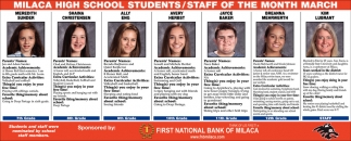 Milaca High School Students/ Staff of the Month March