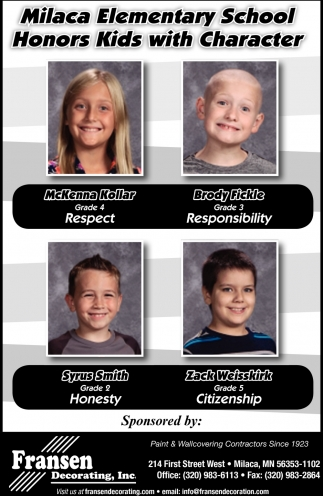 Milaca Elementary School Honors Kids with Character