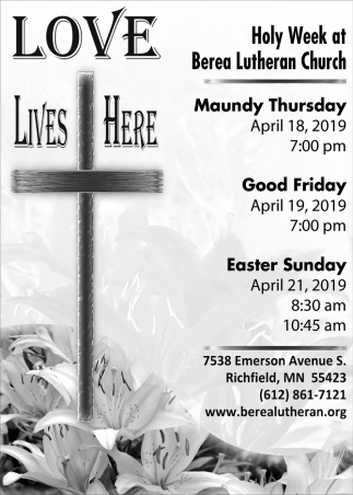 Holy Week at Berea Lutheran Church