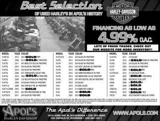 Best Selection of Used Harley's in Apol's History