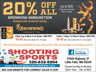 20% OFF All Browning Ammunition