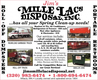 Jim's Mille Lacs Disposal has All Your Spring Clean-up Needs!