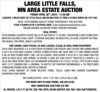 Large Little Falls, MN Area Estate Auction