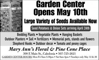 Garden Center Opens May 10th