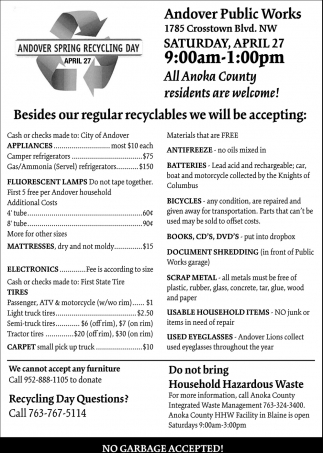 Andover Spring Recycling Day