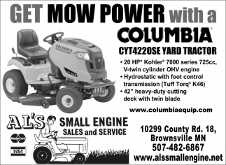 Get Mow Power with a Columbia CYT4220SE Yard Tractor