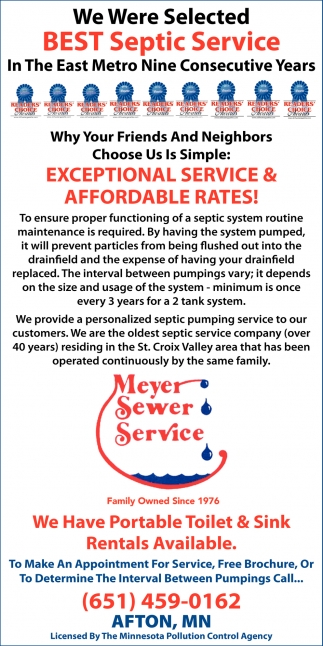 We Were Selected Best Septic Service in the East Metro Nine Consecutive Years