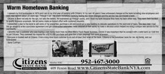Warm Hometown Banking