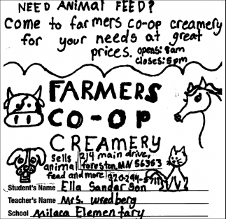 Come to Farmers Co-op Creamery for Your Needs
