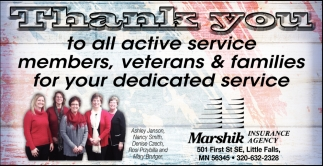 Thank You to All Active Service Members, Veterans & Families for Your Dedicated Service