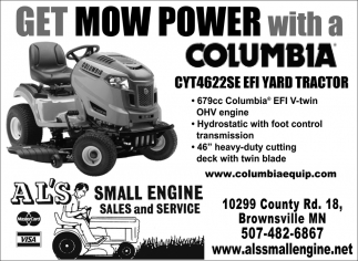 Get Mow Power with a Columbia CYT4622SE EFI Yard Tractor