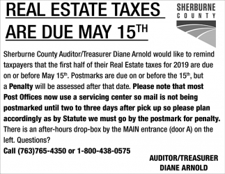 Real Estate Taxes are Due MAy 15th