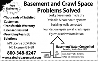 Basement and Crawl Space Problems Solved