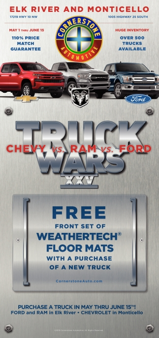 FREE front Set of Weathertech Floor MAths with a Purchase of a New Truck