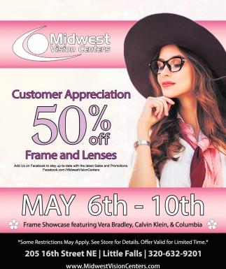 Customer Appreciation 50% OFF Frame and Lenses