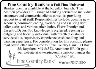 Full Time Universal Banker
