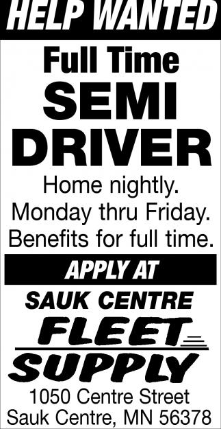 Full Time Semi Driver
