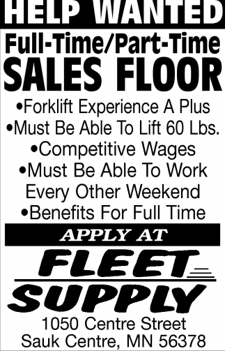 Full-Time/ Part-Time Sales Floor