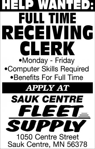 Full Time Receiving Clerk