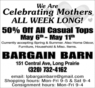 We are Celebrating Mothers All Week Long!