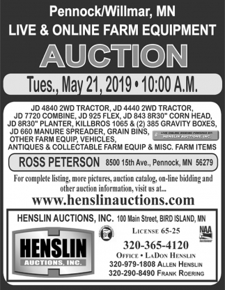 Live & Online Farm Equipment Auction