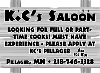 Looking for Full or Part-Time Cooks!
