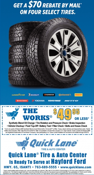 Get a $70 Rebate by Mail* On Four Select Tires