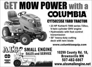 Get Mow Power with a Columbia CYT5023SE Yard Tractor