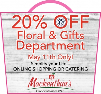 20% OFF Floral & Gifts Department