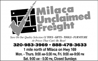 Milaca Unclaimed Freight