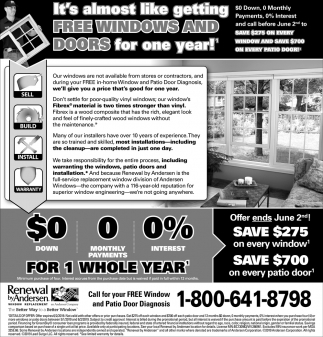 It's Almost Like Getting FREE Windows & Doors for One Year!
