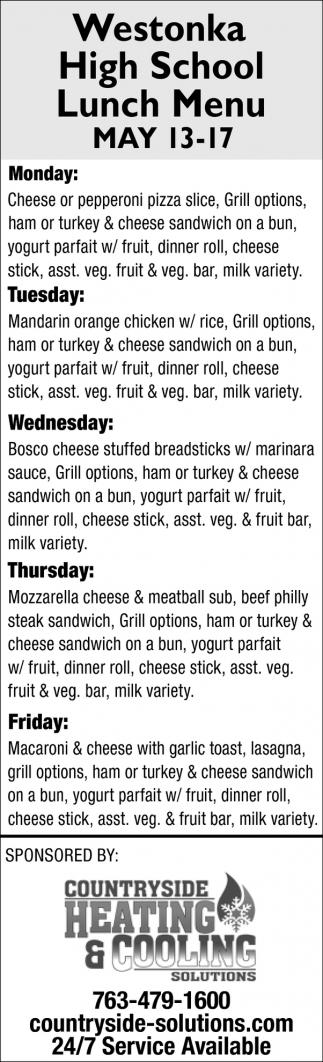 Westonka High School Lunch Menu