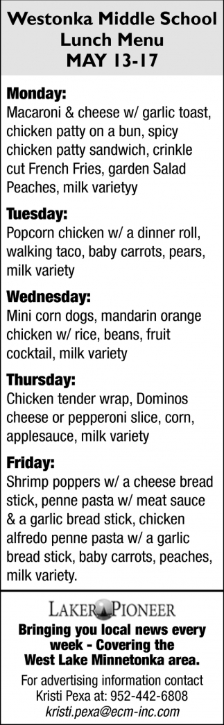 Westonka Middle School Lunch Menu