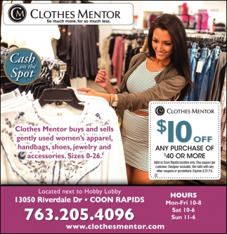 Clothes Mentor Buys and Sells Gently Used Women's Apparel, Handbags, Shoes, Jewelry and Accessories
