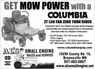 Get Mow Power with a Columbia ZT L50 Fab Zero Turn Rider