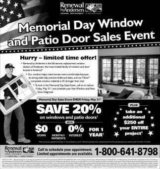 Memorial Day Window and Patio Door Sales Event