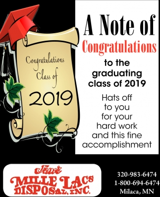 A Note of Congratulations to the Graduating Class of 2019