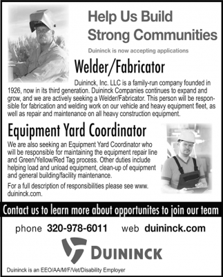 Welder/ Fabricator & Equipment Yard Coordinator