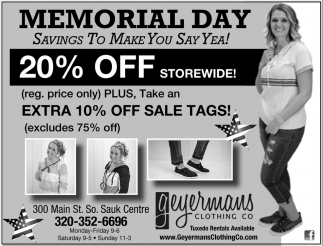 Memorial Day Savings to Make You Say Yea!