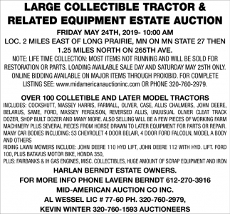 Large Collectible Tractor & Related Equipment Estate Auction