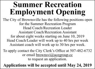 Summer Recreation Employment Opening