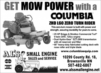 Get Mow Power with a Columbia ZHD L60 Zero Turn Rider