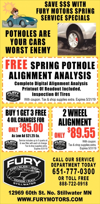 Save $$$ with Fury Motors Spring Service Specials