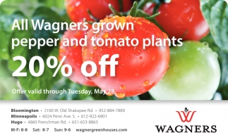 All Wagners Grown Pepper and Tomato Plants 20% OFF