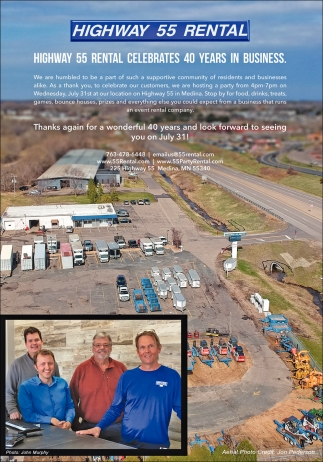 Highway 55 Rental Celebrates 40 Years in Business