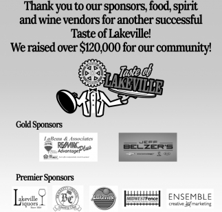 Thank You to Our Sponsors, Food, Spirit and Wine Vendors for Another Successful Taste of Lakeville!