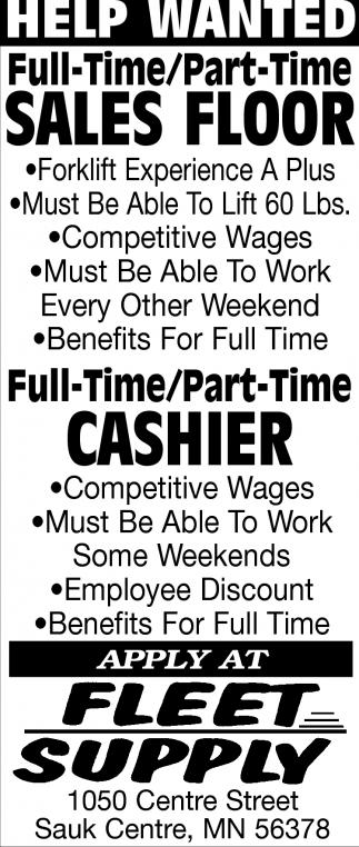 Sales Floor & Cashier