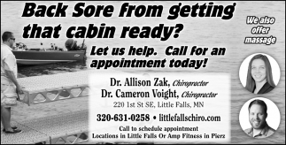 Back Sore from Getting that Cabin Ready?