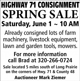 Highway 71 Consignment Spring Sale