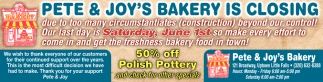 Pete & Joys Bakery is Closing